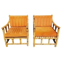 1950s Vintage Bamboo Lounge Chairs, a Pair