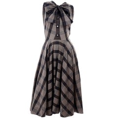 1950s Vintage Black & Sand Plaid Dress Attributed to Claire McCardell