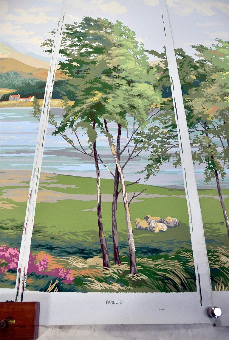 1950s Vintage Block Printed Wallpaper Mural Scottish Landscape Scene Sanderson For Sale 3