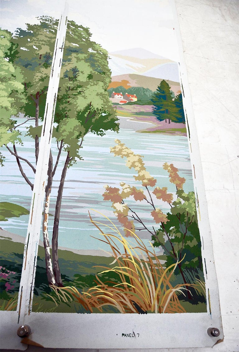 1950s Vintage Block Printed Wallpaper Mural Scottish Landscape Scene Sanderson For Sale 5