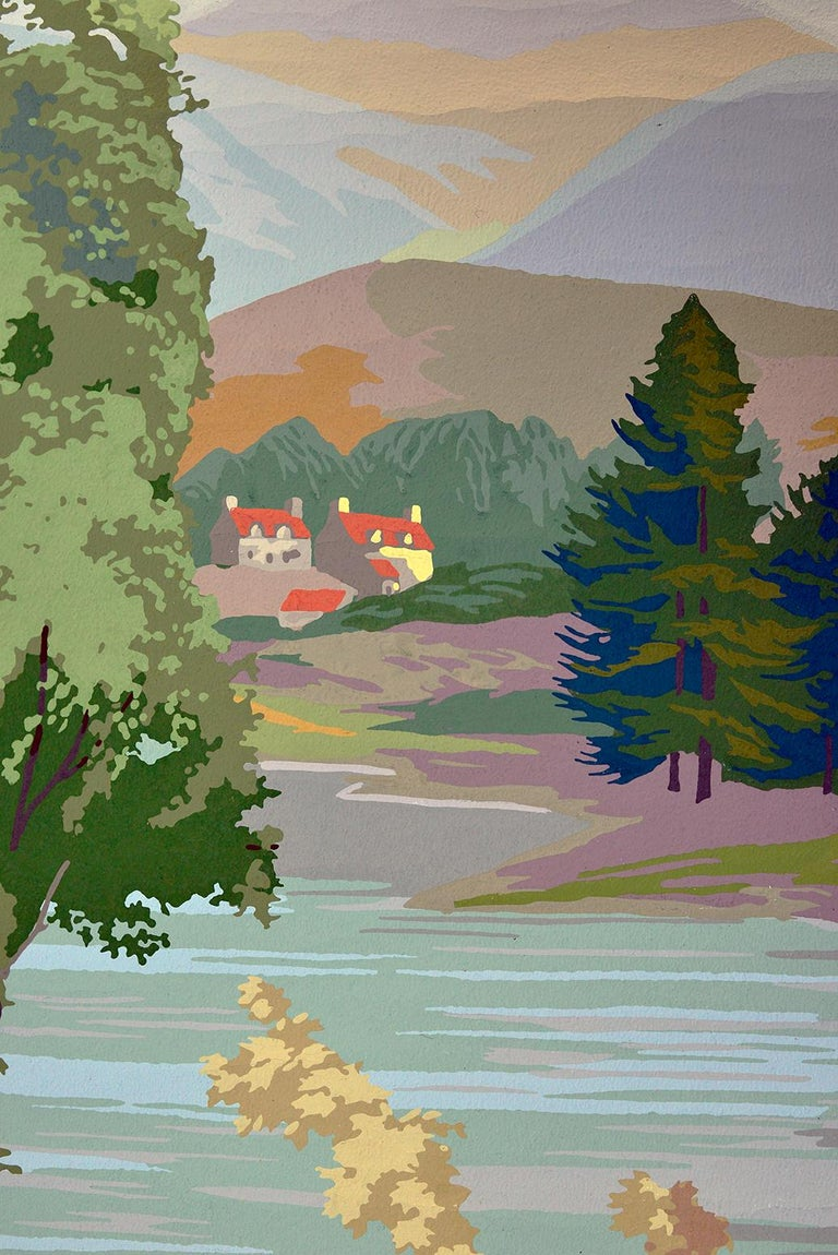 1950s Vintage Block Printed Wallpaper Mural Scottish Landscape Scene Sanderson For Sale 7