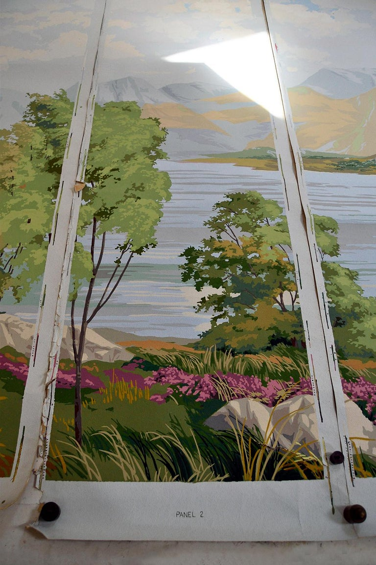 Paint 1950s Vintage Block Printed Wallpaper Mural Scottish Landscape Scene Sanderson For Sale