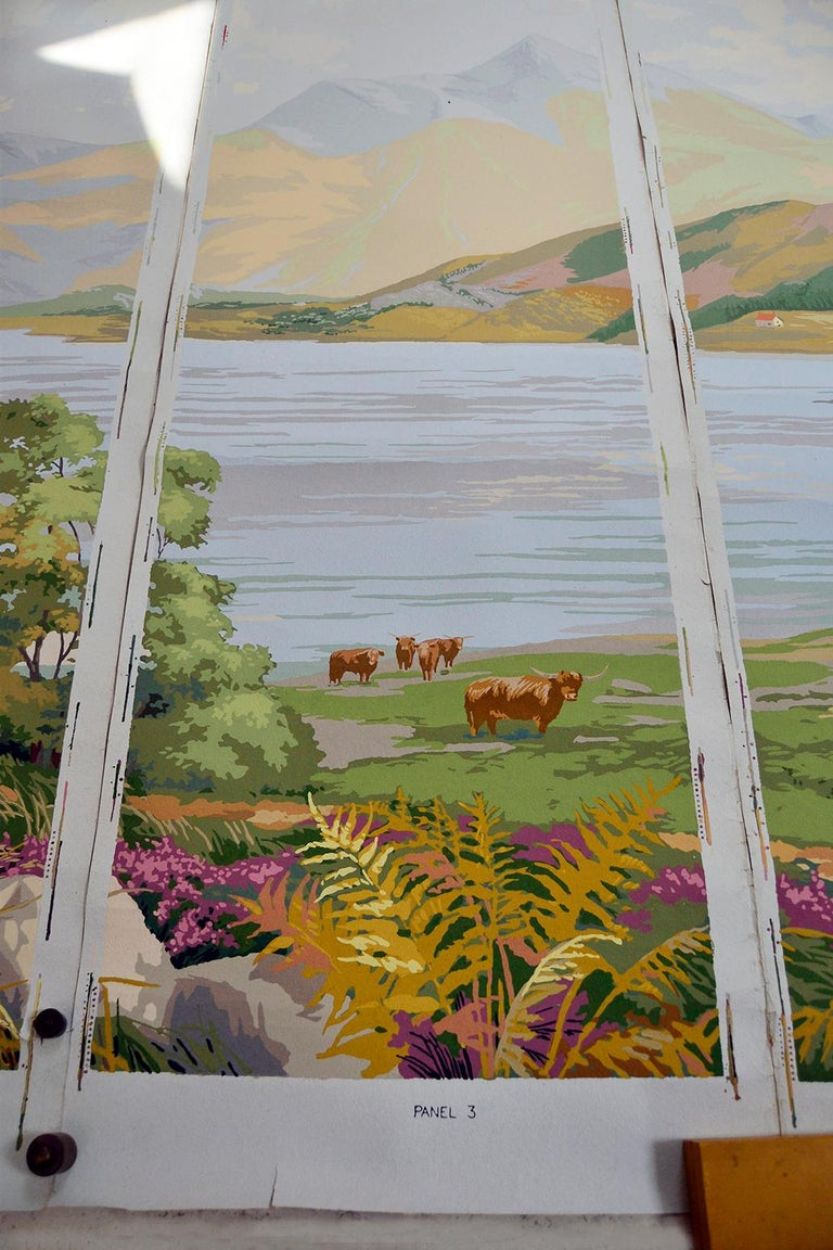 1950s Vintage Block Printed Wallpaper Mural Scottish Landscape Scene Sanderson For Sale 1