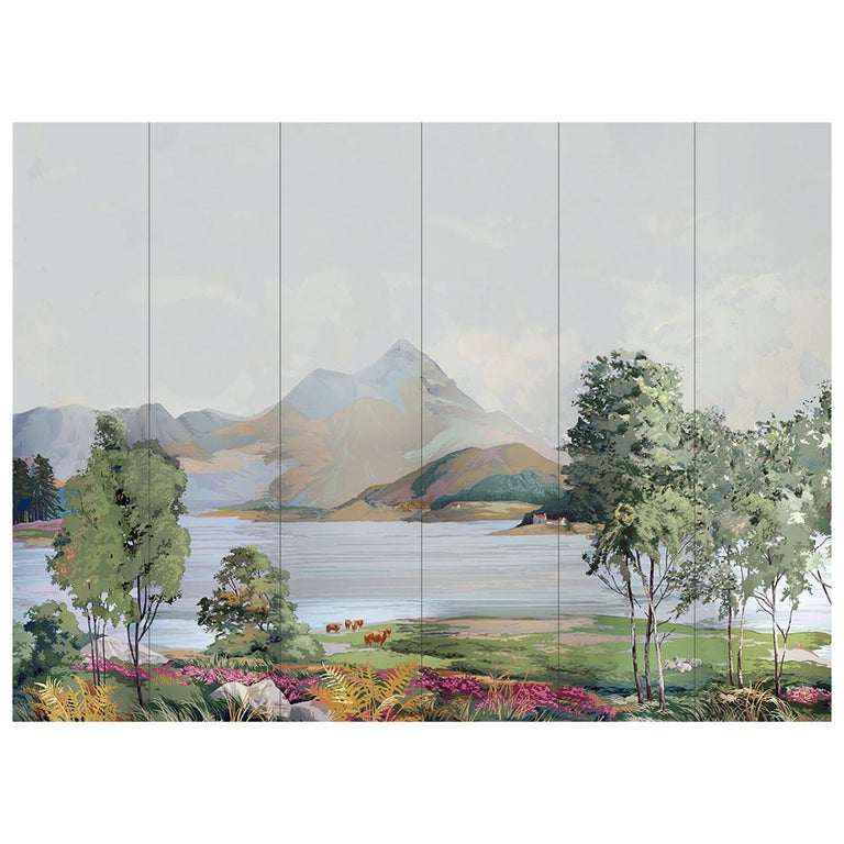 1950s Vintage Block Printed Wallpaper Mural Scottish Landscape Scene Sanderson For Sale