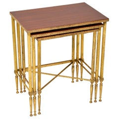 1950s Vintage Brass and Mahogany Nest of Tables