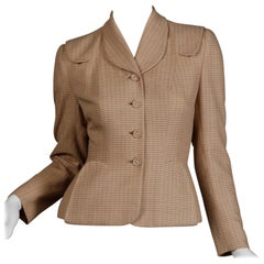 1950s Vintage Brown + Beige Wool Blazer Jacket Size XS