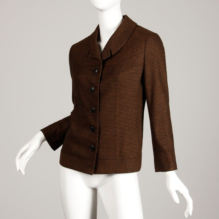 Women's 1950s Vintage Brown + Black Striped Wool Blazer or Suit Jacket Size Small For Sale