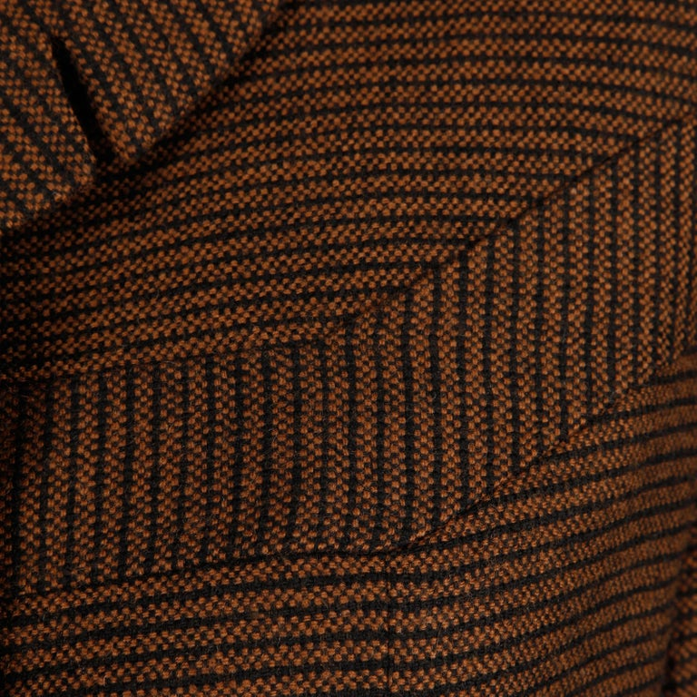 1950s Vintage Brown + Black Striped Wool Blazer or Suit Jacket Size Small For Sale 3