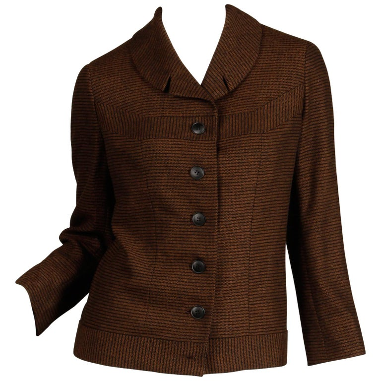1950s Vintage Brown + Black Striped Wool Blazer or Suit Jacket Size Small For Sale