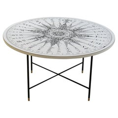 1950s Vintage Coffee Table Black White Sundial Compass Table Top S Dunn Clements