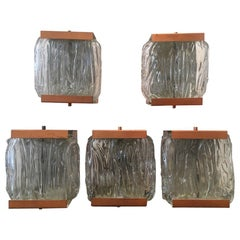 1950s Vintage Decorative Set of 5 Copper and Glass Wall Lamps