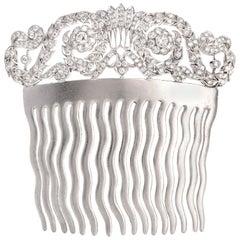 1950s Vintage Diamond 18 Karat White Gold Hair Comb