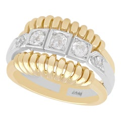 1950s Vintage Diamond and Yellow Gold Cocktail Ring