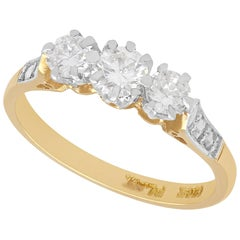 1950s Vintage Diamond and Yellow Gold Trilogy Ring