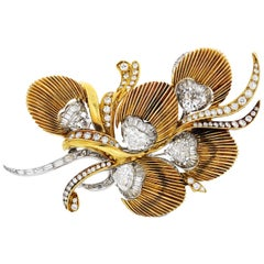 1950s Vintage Diamond Brooch with Heart, Round and Baguette Cut Diamonds
