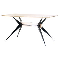 1950s Vintage Dining Table with black iron structure