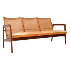 1950s Vintage Dutch Afromosia & Cane Sofa by P.J Muntendam