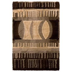 1950s Vintage Ege Rya Rug Beige Brown Midcentury Geometric Pattern