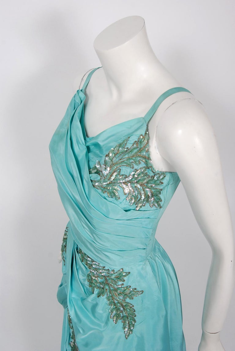 Vintage 1950's Emma Domb Aqua Blue Sequin-Leaves Applique Taffeta Tiered Gown In Good Condition For Sale In Beverly Hills, CA
