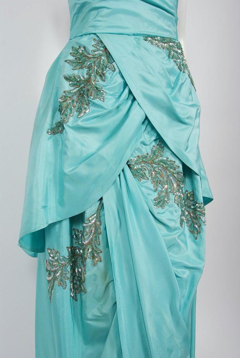 Women's Vintage 1950's Emma Domb Aqua Blue Sequin-Leaves Applique Taffeta Tiered Gown For Sale