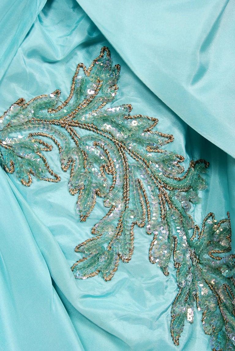 Vintage 1950's Emma Domb Aqua Blue Sequin-Leaves Applique Taffeta Tiered Gown For Sale 1