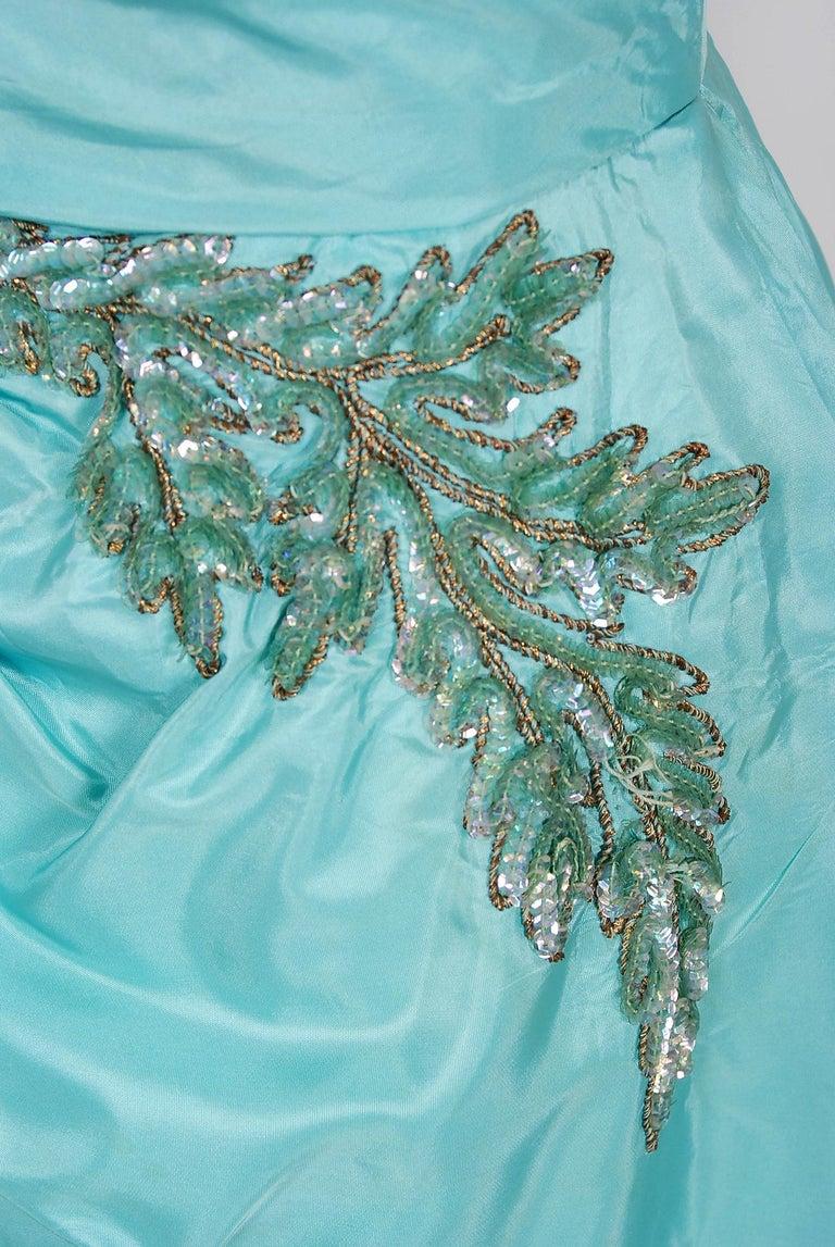 Vintage 1950's Emma Domb Aqua Blue Sequin-Leaves Applique Taffeta Tiered Gown For Sale 2