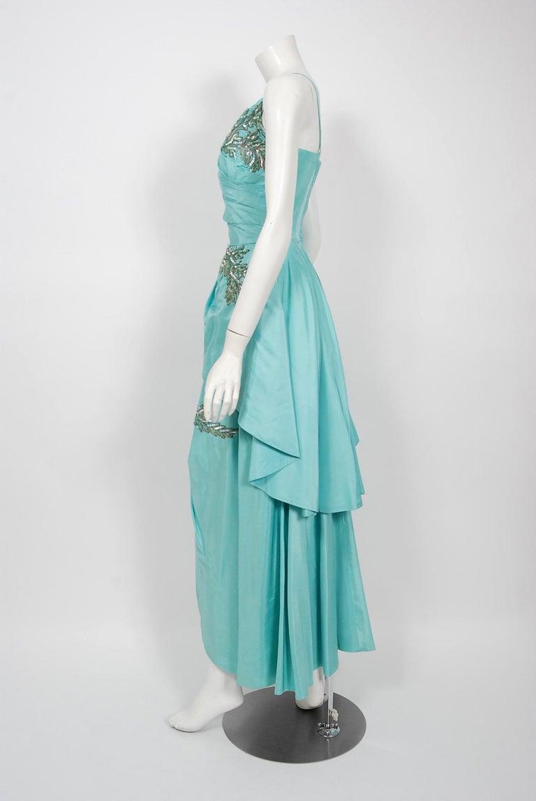 Vintage 1950's Emma Domb Aqua Blue Sequin-Leaves Applique Taffeta Tiered Gown For Sale 3