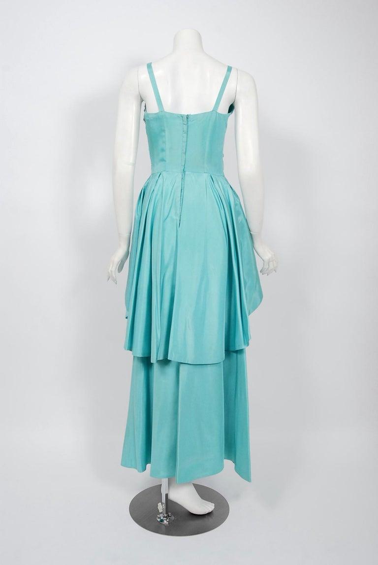 Vintage 1950's Emma Domb Aqua Blue Sequin-Leaves Applique Taffeta Tiered Gown For Sale 4