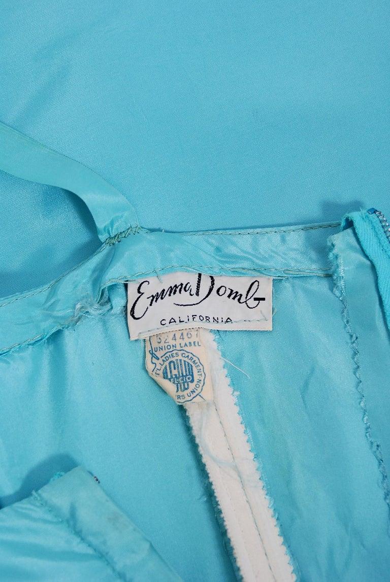 Vintage 1950's Emma Domb Aqua Blue Sequin-Leaves Applique Taffeta Tiered Gown For Sale 5