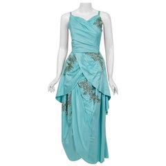 1950's Vintage Emma Domb Blue Sequin-Leaves Applique Taffeta Tiered Dress Gown