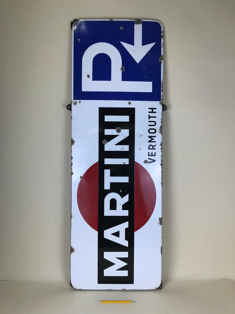 Mid-Century Modern 1950s Vintage Enamel Metal Belgian Advertising Martini Sign with Parking Signal For Sale
