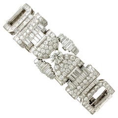 1950s Vintage French 21.38 Carat Diamond and Platinum Bracelet
