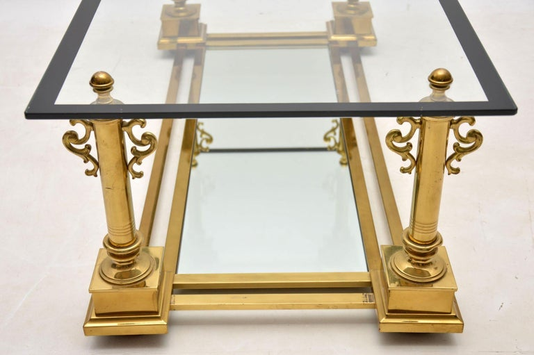 1950s Vintage French Brass Coffee Table by Maison Charles For Sale 5