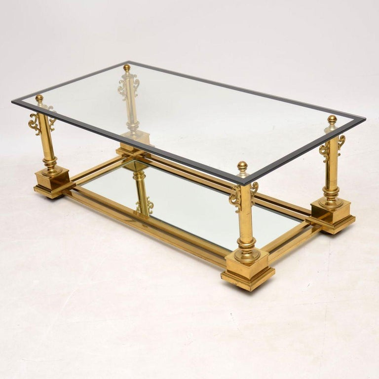 Mid-Century Modern 1950s Vintage French Brass Coffee Table by Maison Charles For Sale