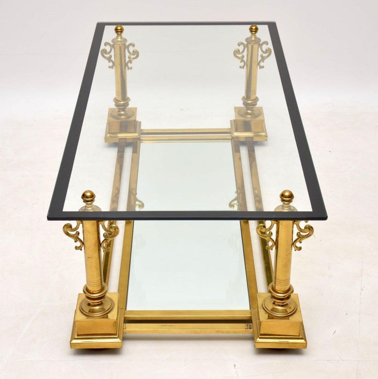 1950s Vintage French Brass Coffee Table by Maison Charles In Good Condition For Sale In London, GB