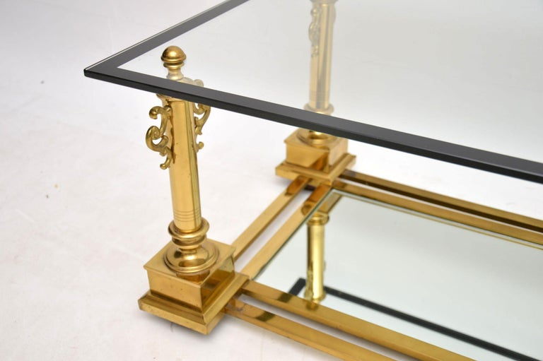Mid-20th Century 1950s Vintage French Brass Coffee Table by Maison Charles For Sale