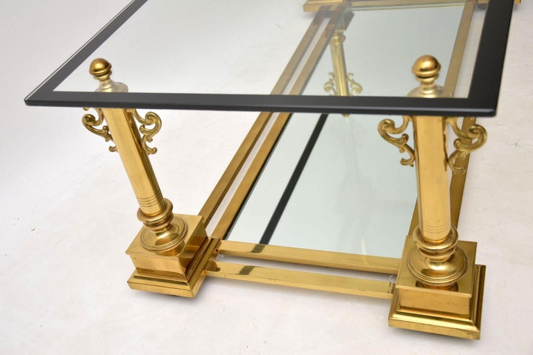 1950s Vintage French Brass Coffee Table by Maison Charles For Sale 2