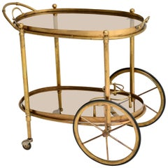 1950s Vintage French Brass Drinks Trolley