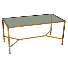 1950s Vintage French Brass & Glass Coffee Table