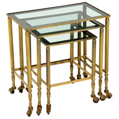 1950s Vintage French Brass Nest of Tables