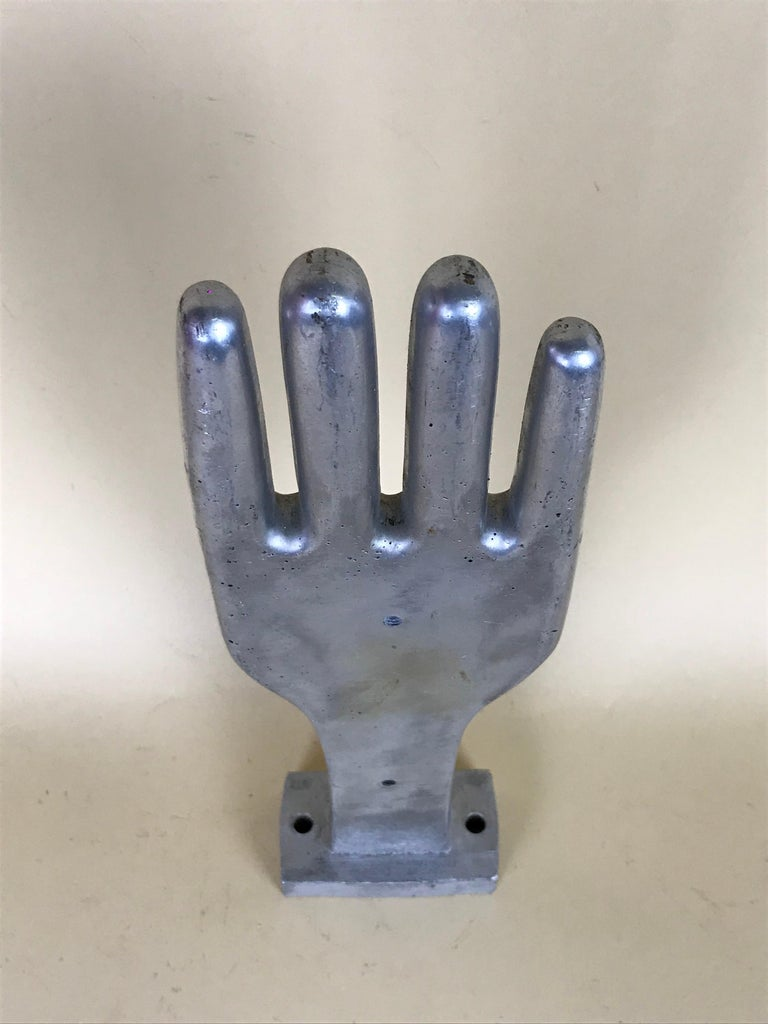 Mid-Century Modern 1950s Vintage French Freestanding Aluminum Industrial Leather Glove Mold For Sale