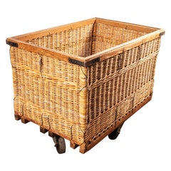 1950s Vintage French Industrial Woven Rattan Trolley, Storage Basket