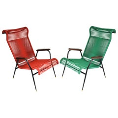 1950s Vintage French Red and Green Scoubidou Lounge Chairs, Set of Two