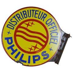 1950er Jahre Vintage Französisches Rundes Doppelseitiges Philips Emaille Metall Werbeschild