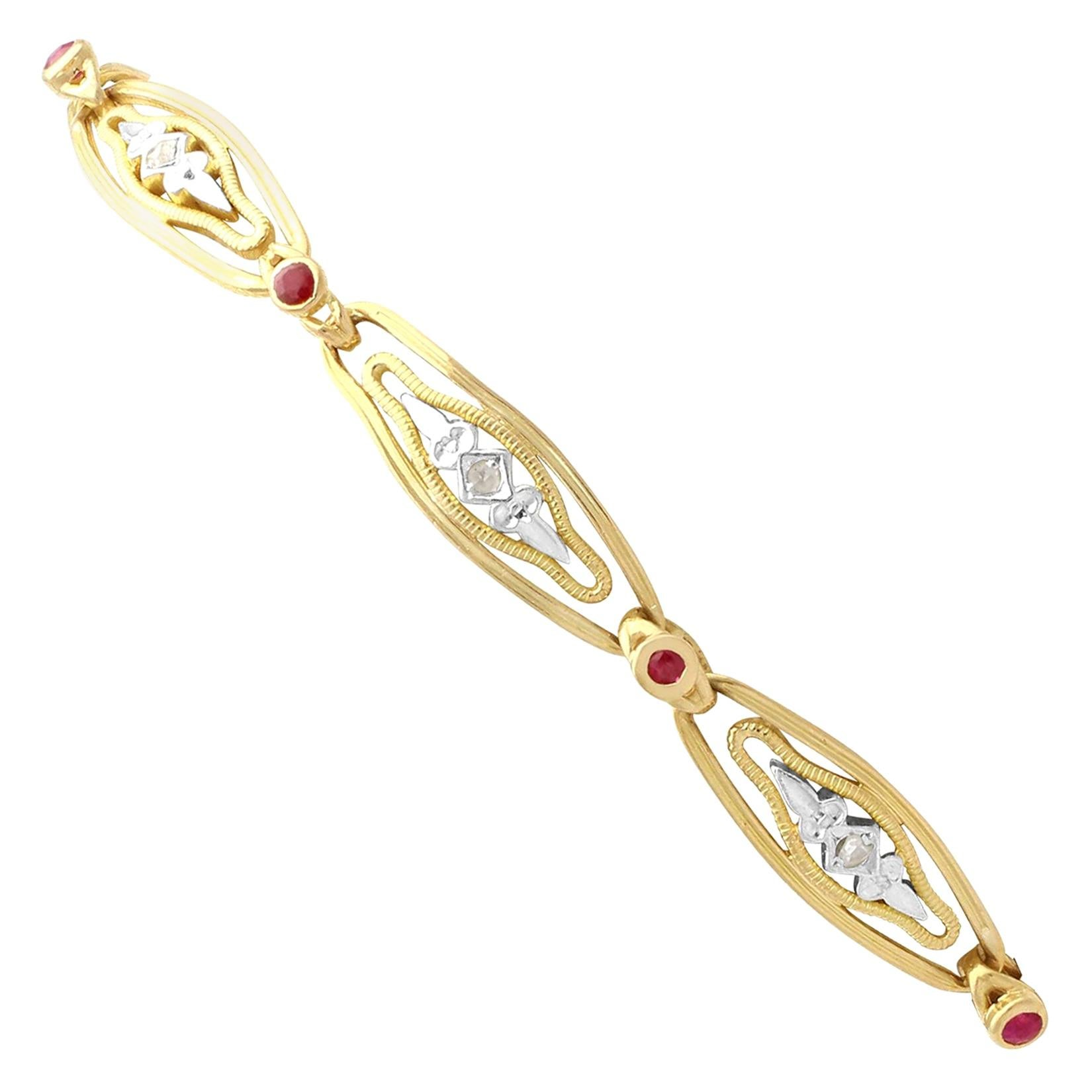 1950s Vintage French Ruby and Diamond Gold Bracelet