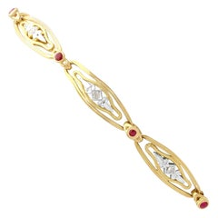 1950s Vintage French Ruby and Diamond Gold Bracelet