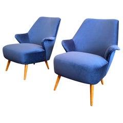 1950s Vintage Gio Ponti Style Midcentury Armchairs, a Pair