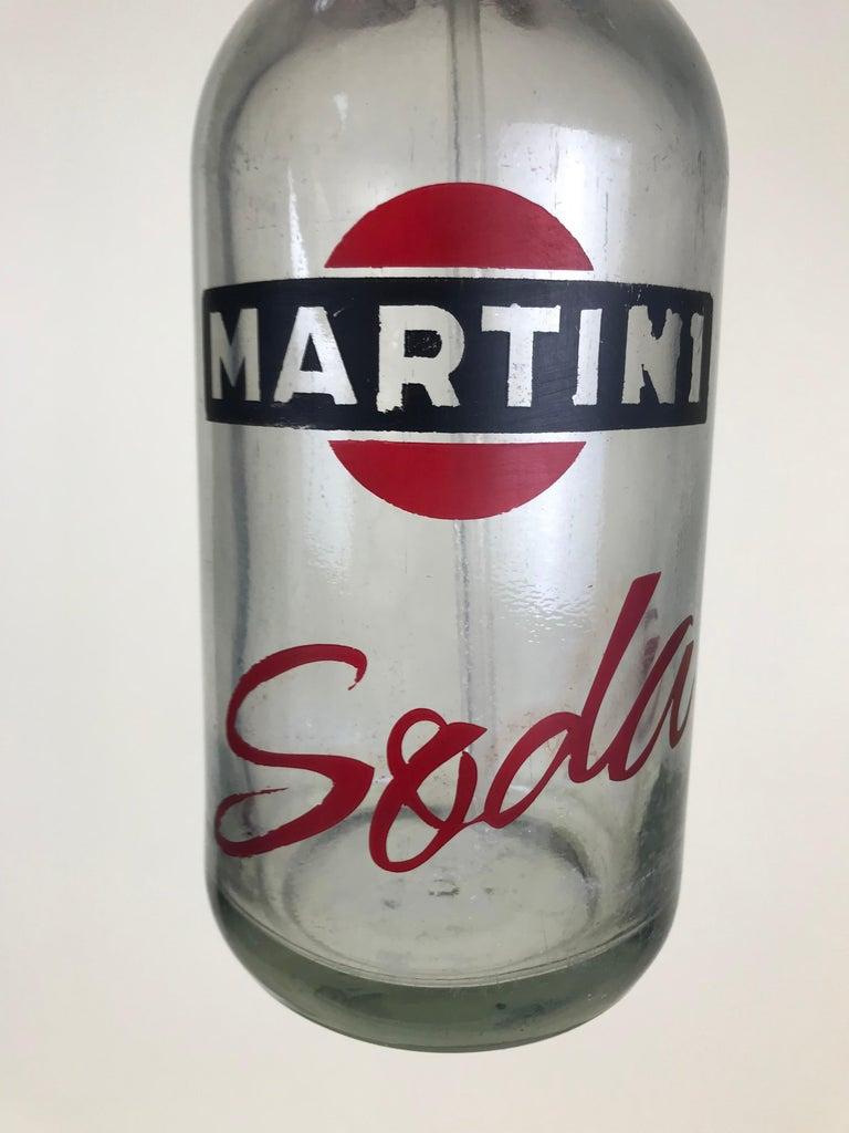Metal 1950s Vintage Glass Italian Soda Syphon Seltzer Logo Martini Soda Bar Bottle For Sale