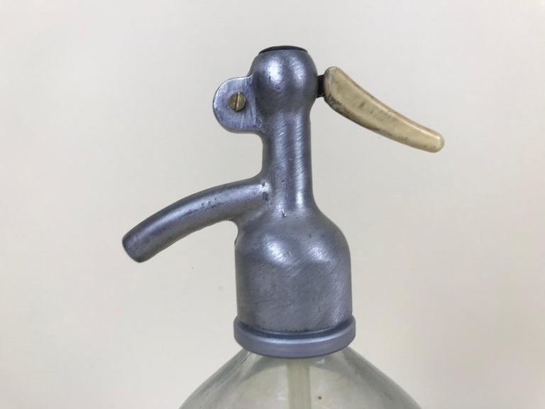 1950s Vintage Glass Italian Soda Syphon Seltzer Logo Martini Soda Bar Bottle For Sale 3
