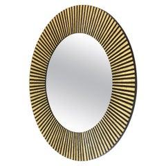 1950s Vintage Gold Leaf round Sunburst Mirror in Inlaid Solid Wood